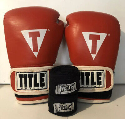 TITLE CLASSIC 12 oz Boxing Gloves HAND WRAPS INCL RED BLACK MMA Martial Arts