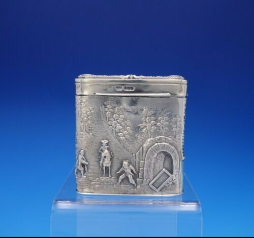 Maurice Freeman English Sterling Silver Tea Caddy w/ Hunting and Scenery (#3682)