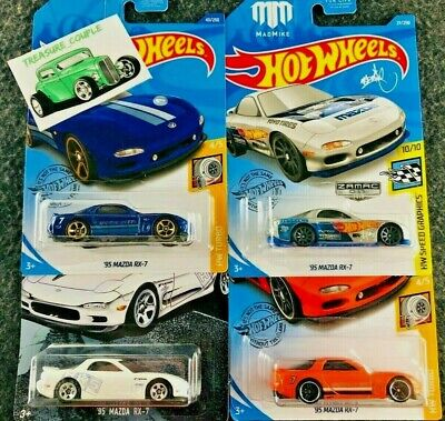 Hot Wheels - Lot of 4 - MAZDA '95 RX-7 - Zamac - Mad Mike - Turbo - 2020 - A149