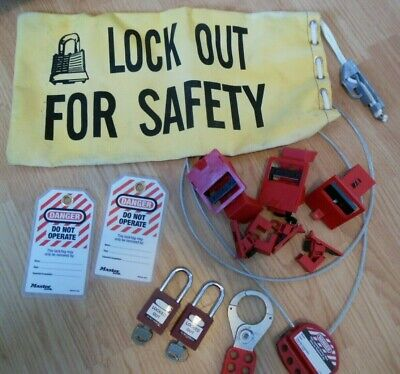 Master Brady Lockout Kit Bag Lock Hasp Circuit Breaker Clamp Cable Tag Lot 14pc
