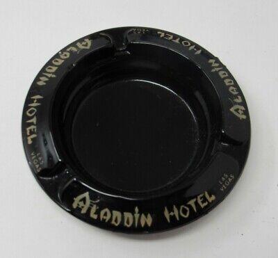 Vintage Aladdin Hotel Casino Black Glass Advertising Ashtray Las Vegas Nevada