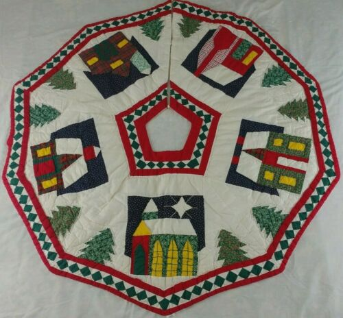 """XMAS Tree Skirt Patchwork Hand Stitched Holiday 42"""" MultiColor Handmade Vtg OOAK"""