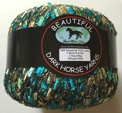 Seashore Glitz Ladder Ribbon Yarn Dark Horse Beautiful #S103 Blue Gold Metallic for sale  Shipping to India