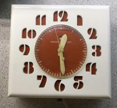 Vintage 1950 GE General Electric Kitchen Clock LK-15 Cream/Orange Toronto