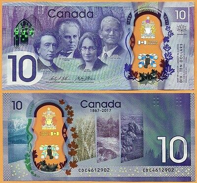 CANADA  2017 GEM UNC 10 Dollars Banknote Polymer P- 112  Commemorative Issue