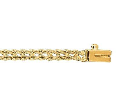14kt Yellow Gold 3.0mm Diamond Cut Multi Line Rope Chain Bracelet ()