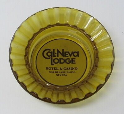 Vintage Cal-Neva Casino Amber Glass Advertising Ashtray Lake Tahoe NV NO CHIPS