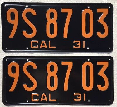 1931 California License Plates Pair DMV Clear Restored, Front & Back