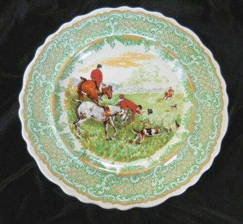 Vintage GREEN TRANSFERWARE FOX HUNT PLATE Ridgways England ROYAL SEMI PORCELAIN