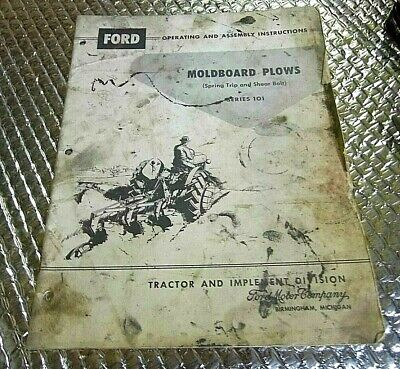 1960 Ford Operations Manual Moldboard Plows Spring Trip Shear Bolt Series 101