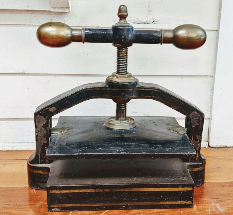 Antique Racine Cast Iron BOOK PRESS - Excellent Condition Circa 1800