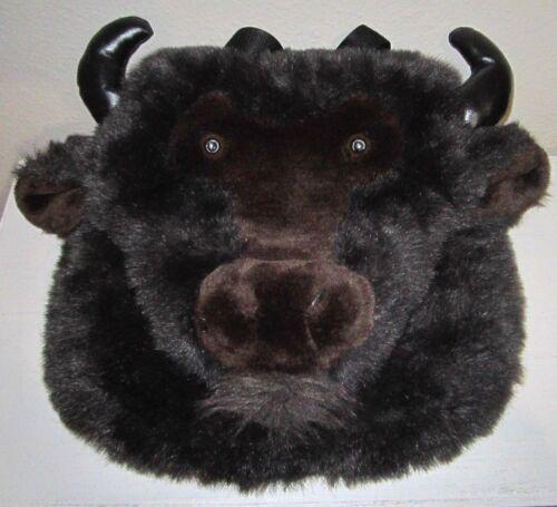 Plush Buffalo Head Stuffed Animal Fur Backpack Purse Bag