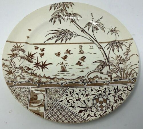 1875 Staffordshire Aesthetic Movement Transferware Brown MELBOURNE Charger Plate