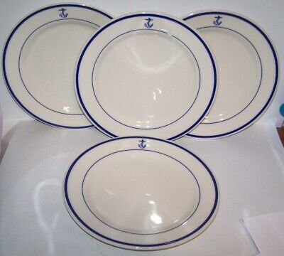 NEW SET OF 4 NAVY FOULED ANCHOR DINNER PLATES HOMER LAUGHLIN