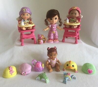 4 Fisher-Price Snap n' Style Dolls 21pc 3 Babies & Girl w/ 2 Highchair Lot E