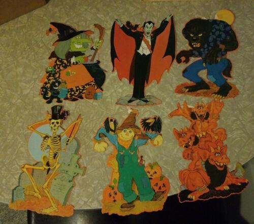 6 Vintage Kirk Halloween Diecut Decorations