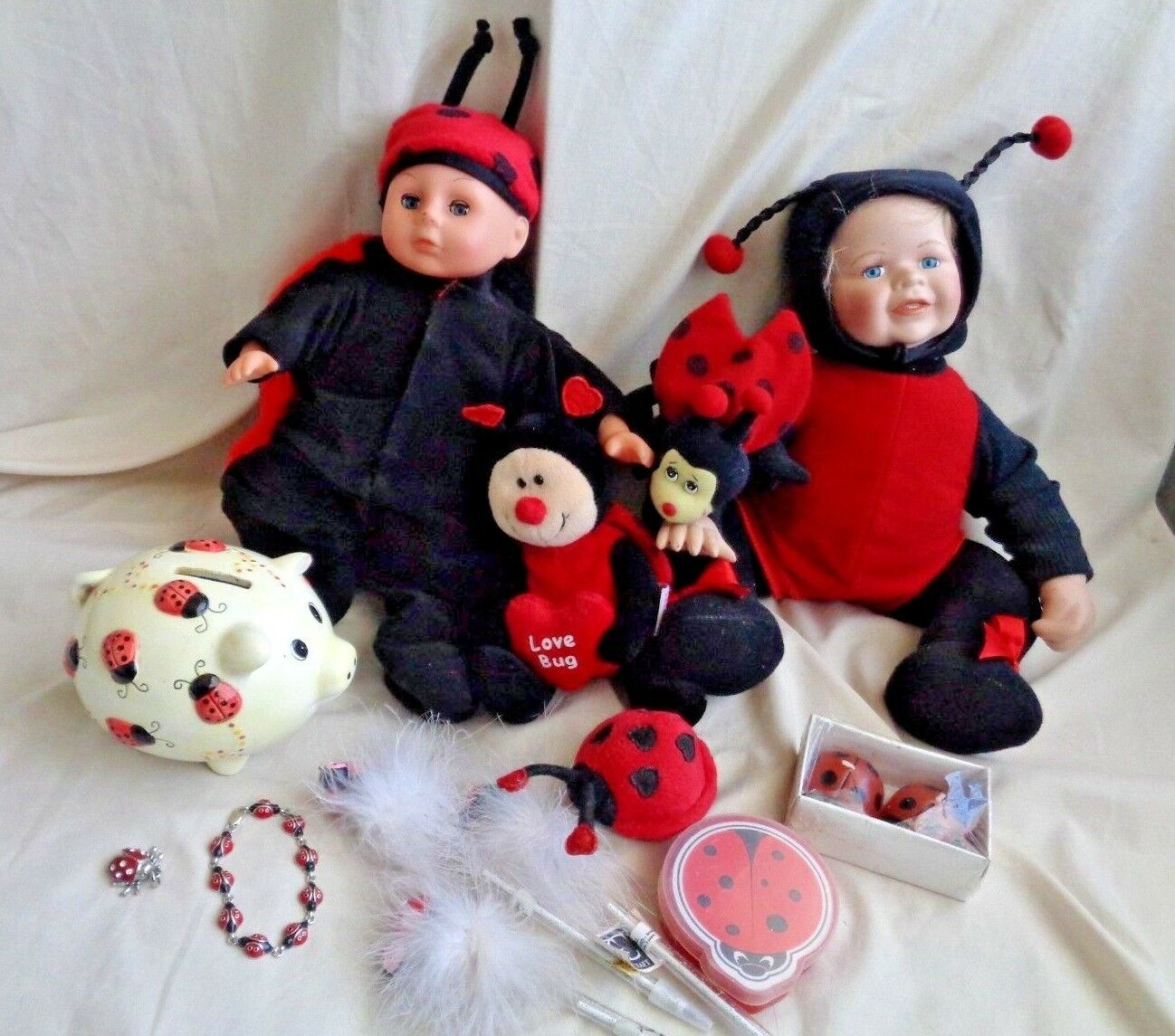 Ladybug Collection 2 Dolls 1 Plush Bracelet Bank Pencils Cards Candles Toy