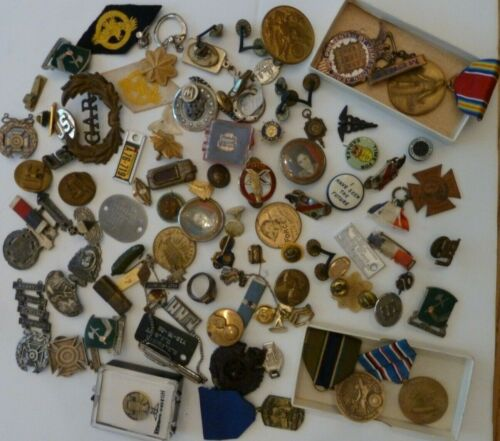 Vintage Lot Assorted Pins, Patches,  Buttons, Medals, Ribbons etc. Military etc