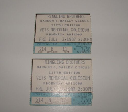 Ringling Brothers Barnum & Bailey Circus Used Ticket Stubs (2), 1987, pre-owned