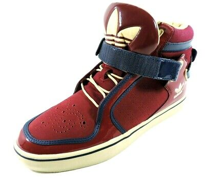 Adidas Adi-Rise Mens Shoes Mid Ankle Strap Leather Red Black Basketball Sneakers