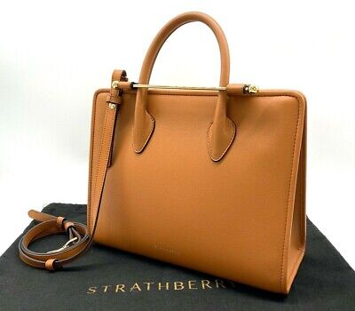 AUTH NWT $750 Strathberry Midi Calf Leather Convertible Tote Crossbody In Tan