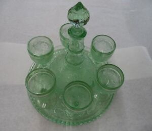 Rare Green Yellow Depression Glass Decanter Tray and Stemware Set Wine Tiara