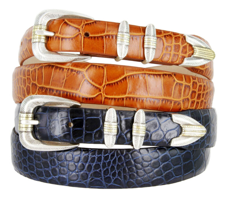 "The Manila - Genuine Leather Italian Calfskin Designer Dress Belt, 1-1/8"" Wide"