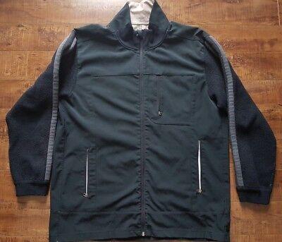 Lululemon Men's Jacket Black Tech Pockets Running Wool Stripe Sleeve Ribbed Cuff