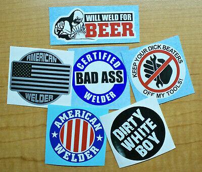 Funny Welder Hard Hat Stickers Welding Helmet Decals Bad Ass Toolbox Weld Beer