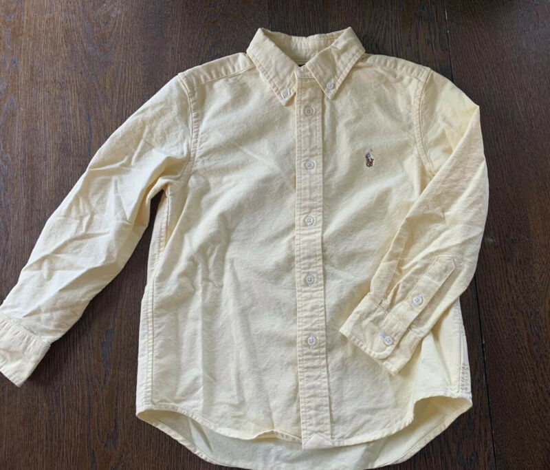 Boys POLO RALPH LAUREN Solid Yellow Shirt Button up Long Sleeve Size 5