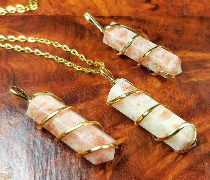 Bulk Wholesale Lot Of 5 Pieces - Sunstone Gold Spiral - Pendant Charm Necklace