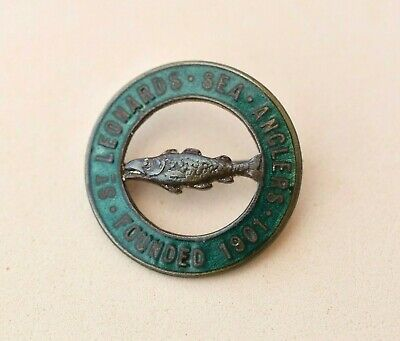 vintage St Leonards Sea anglers Angling / fishing club enamel Pin badge Sussex