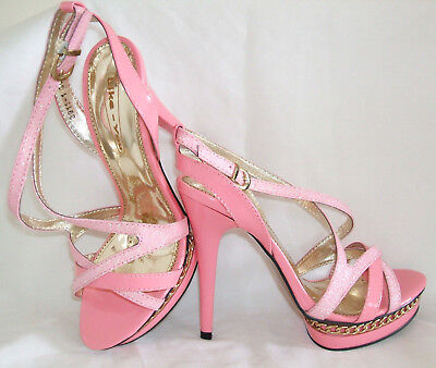 BNWB SIZE 3 4 5 6 PINK GOLD GLITTER PATENT SLINGBACK HIGH STRAPPY SHOES SANDALS Patent 3 3/4