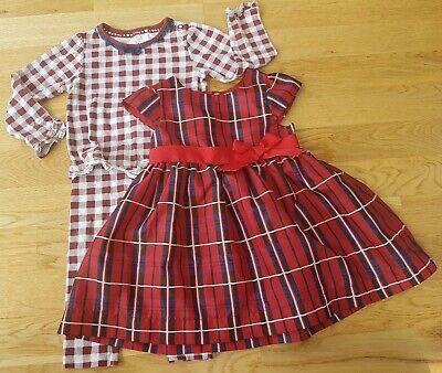rl Christmas dress pyjamas set party tartan red check bow (Baby Girl Christmas Pyjamas)