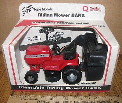 Quality Farm   Fleet Lawn Garden Tractor Mower Metal Bank 1 16 Scale Models Toy