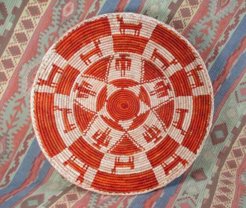 Southwestern Style Basket   Animal and People Basket  Rust Color   over 13 inch