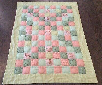Baby Nursery Quilt Bears Orange Green Yellow Boys Girls