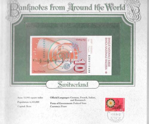 World Banknotes Switzerland 10 Franken 1982 K P-53d.1 UNC  Wyss & P. Languetin
