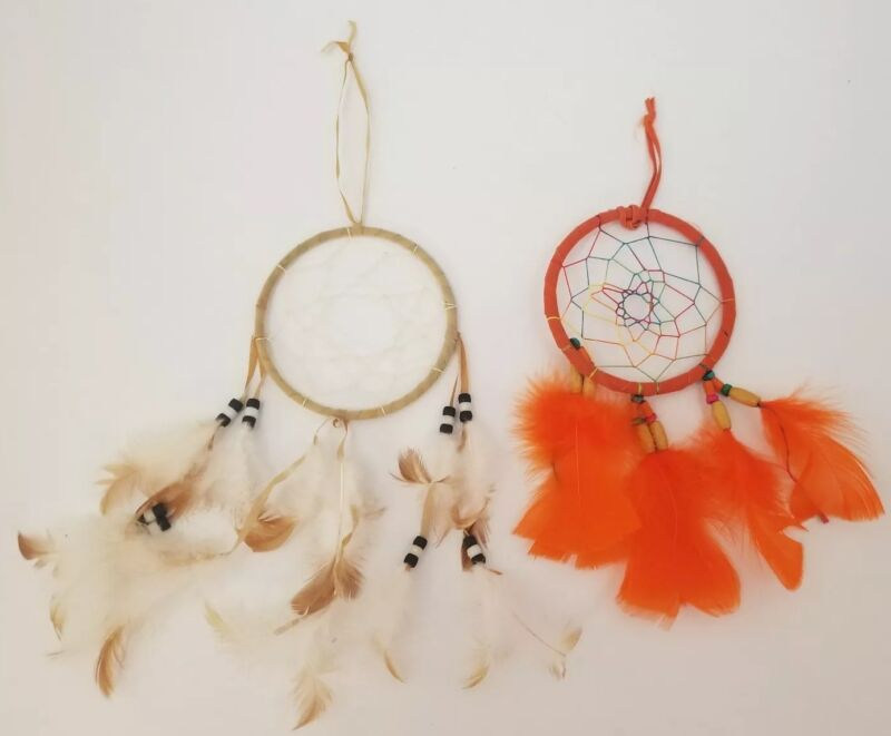 Native American Dreamcatchers Set of 2 Wall Hanging Decorations Bead Feathers