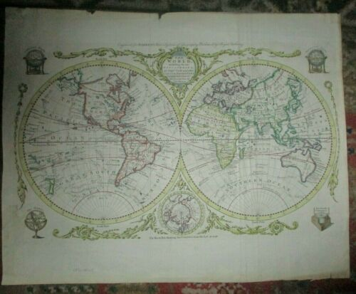 THOMAS BOWEN-Hand Colored Engraving Map-THE WORLD-1790