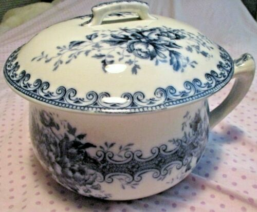 Antique F.J.. Emery Sherwood Blue Transfer Ware Burslem Chamber Pot Fantastic!!!