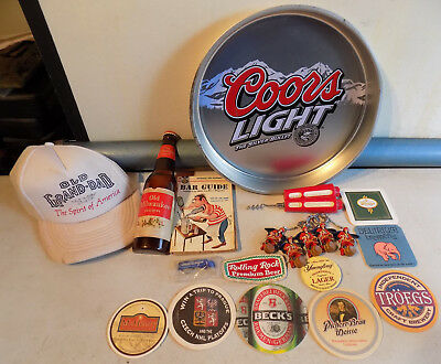 VINTAGE 21pc LOT BEER ADVERTISING COORS LIGHT TRAY OLD MILWAUKEE BOTTLE SIGN HAT