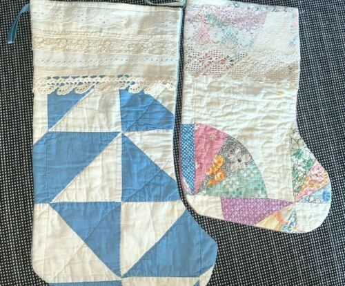 Pair of Christmas Stockings Made Vintage Patchwork Quilts w/ Lace Trim