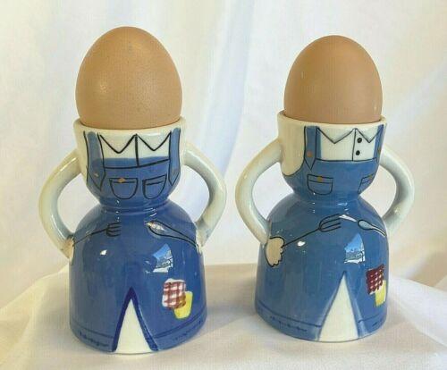 SET OF 2 - FUN Vintage Ceramic Egg Cup - Farm Cook Apron - SUPER CUTE
