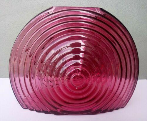 PILGRIM - METROPOLIS COLLECTION - RARE LARGE CRANBERRY GLASS ART DECO VASE