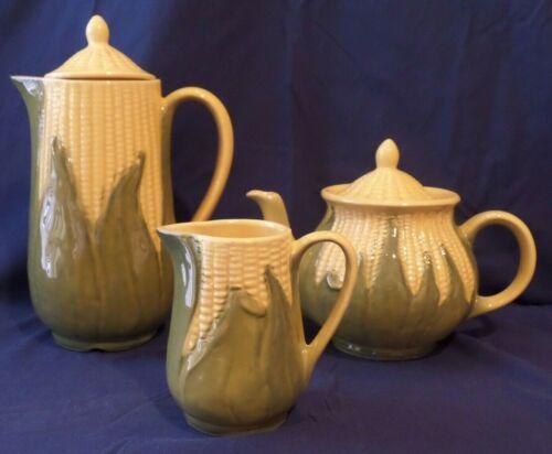 "Vintage Shawnee Pottery ""Corn King"" Pitcher, Creamer & Teapot"