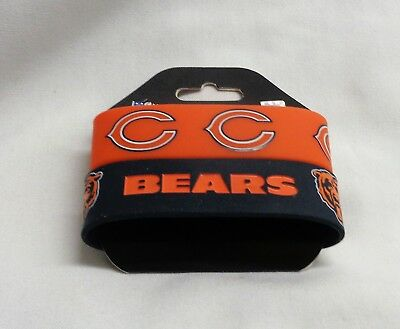 Chicago Bears Rubber Bracelet - NFL Chicago Bears 2 Pack Bracelet Wrist Bands Set Rubber PVC Type FREESHIP