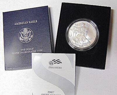 2007-W American Silver Eagle 1 oz .999 Fine Silver Dollar Burnished Satin (Burnish Finish)