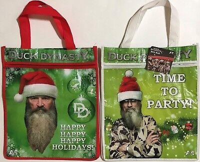 2 Pk DUCK DYNASTY Reusable Eco Shopping Tote Zipper - Phil Si Shopping Bag New - Duck Dynasty Shop