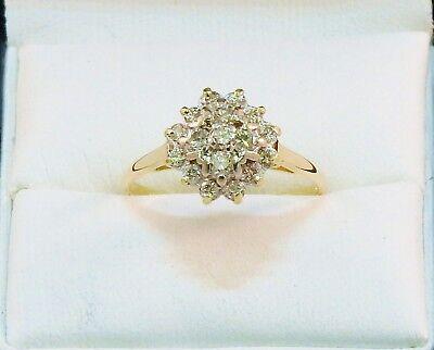 18CT GOLD DIAMOND RING HALLMARKED DIAMOND CLUSTER RING 0.5 CT, SIZE P